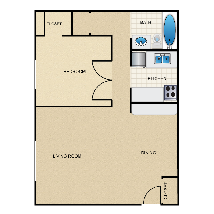 453 sq. ft. A3 floor plan