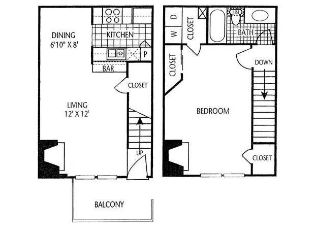 806 sq. ft. A-5T floor plan