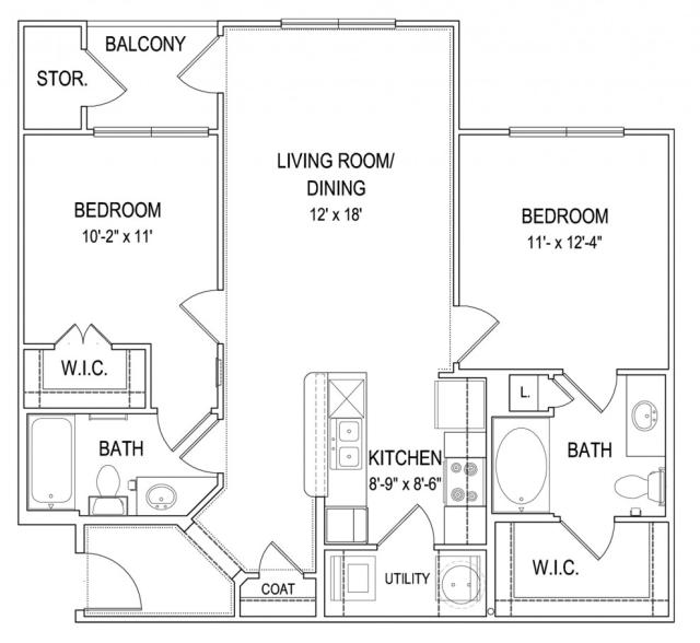 949 sq. ft. B1 floor plan