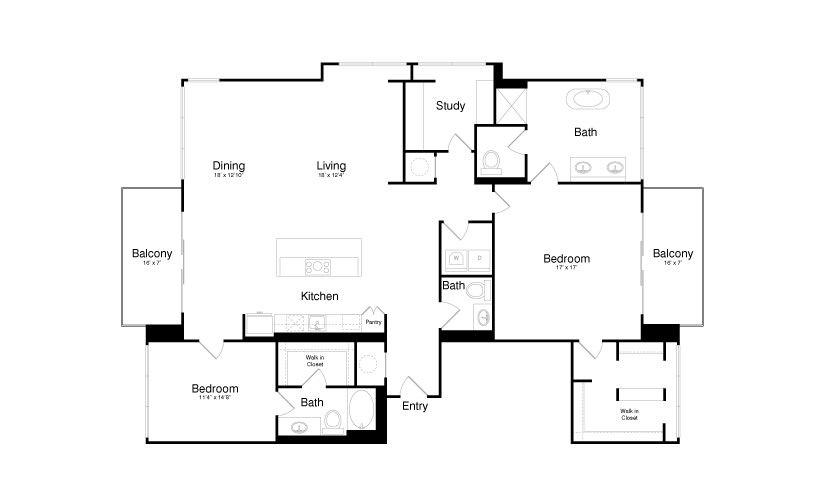 2,245 sq. ft. PH6 floor plan