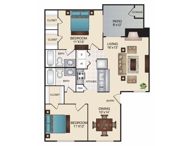 988 sq. ft. D/D1/D2/D3 floor plan