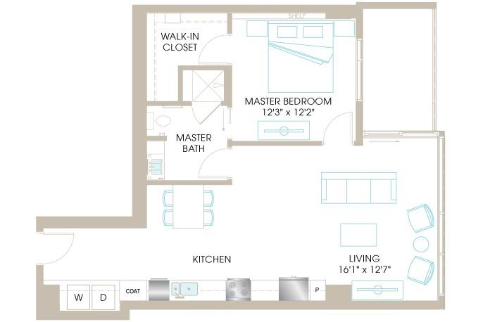848 sq. ft. H3 floor plan