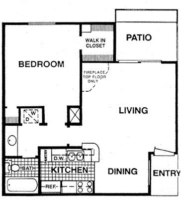 622 sq. ft. A1 floor plan