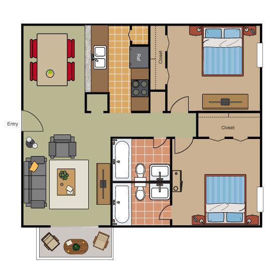 852 sq. ft. B2 floor plan