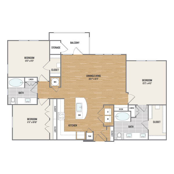 1,436 sq. ft. C1 floor plan
