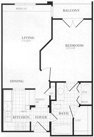 678 sq. ft. to 688 sq. ft. floor plan