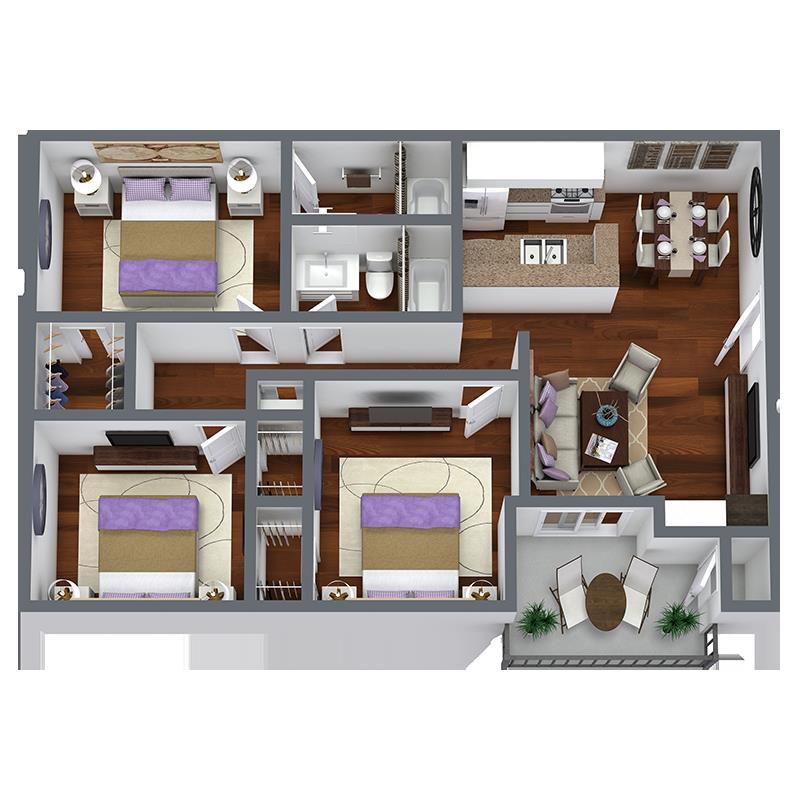 1,105 sq. ft. C1 floor plan