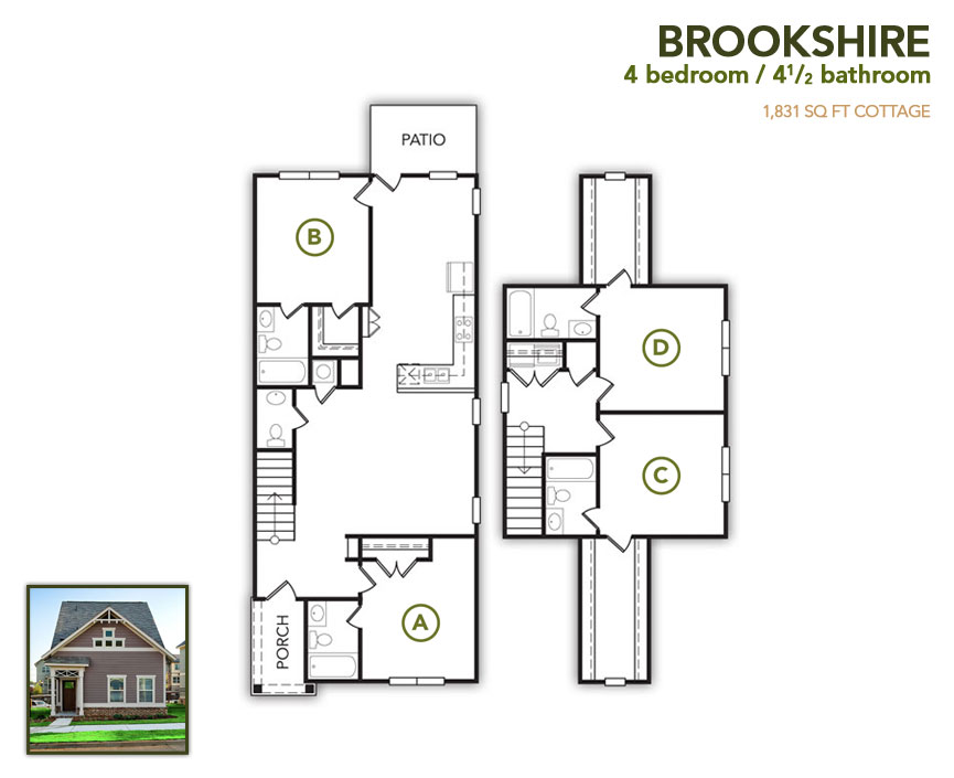 1,831 sq. ft. Brookshire floor plan