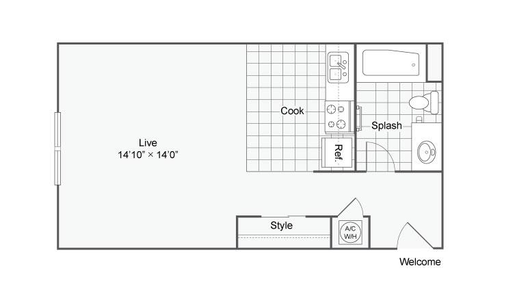 445 sq. ft. Villa 5 floor plan