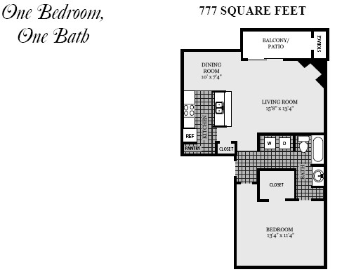 777 sq. ft. A2 floor plan
