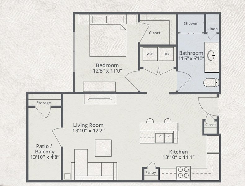 667 sq. ft. Allegiant floor plan
