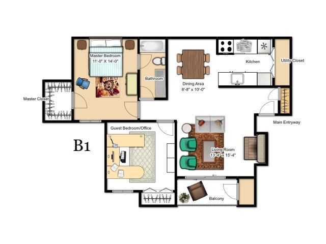 836 sq. ft. B1 floor plan