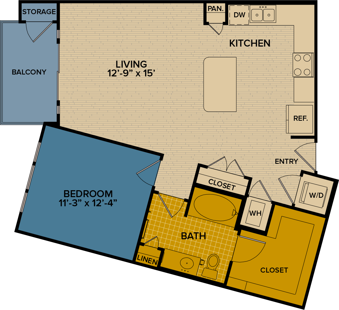 852 sq. ft. A9 floor plan