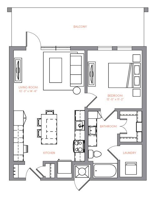 732 sq. ft. A1A.8 floor plan