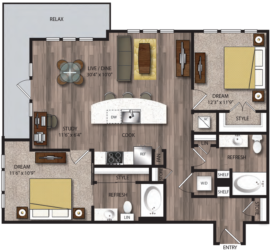 1,104 sq. ft. B1.1 floor plan