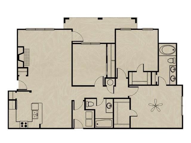 1,355 sq. ft. WNRC1 3X2/ GARAGE floor plan
