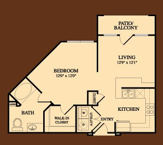 652 sq. ft. University floor plan