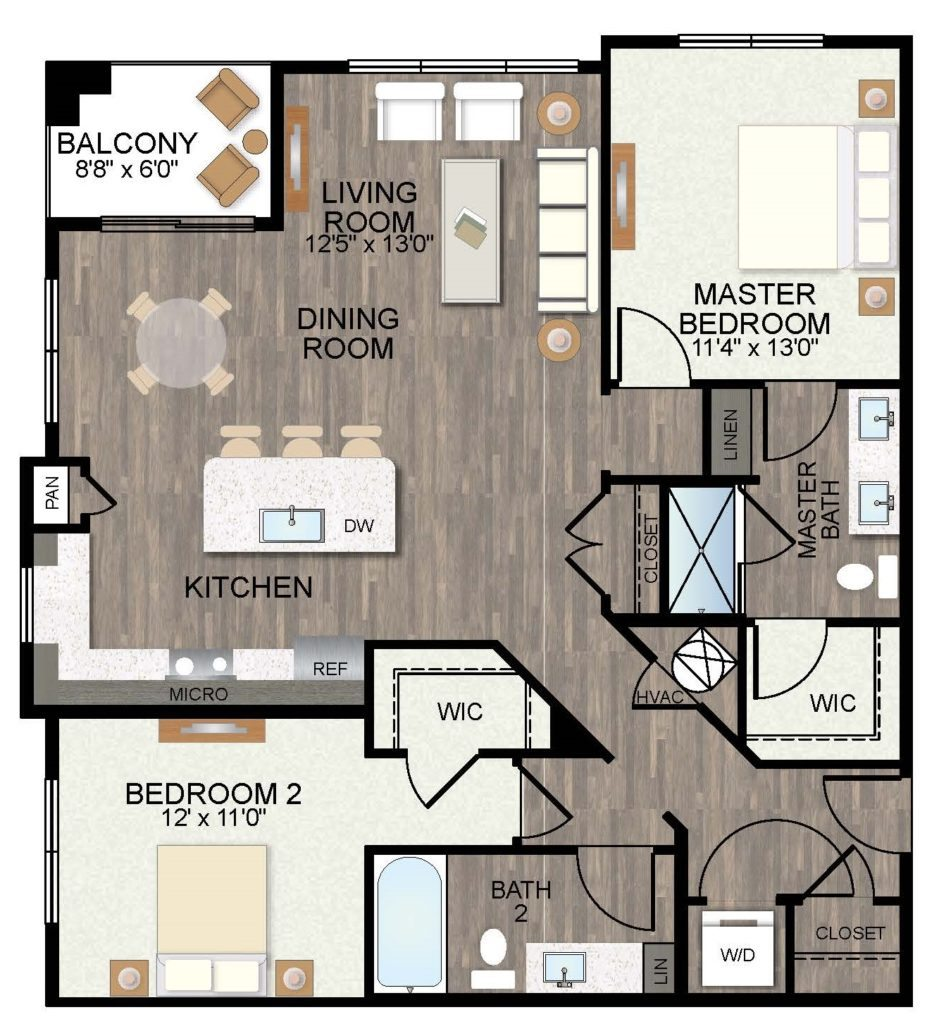 1,174 sq. ft. Wisteria floor plan
