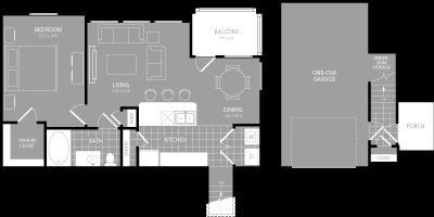 840 sq. ft. A6 floor plan
