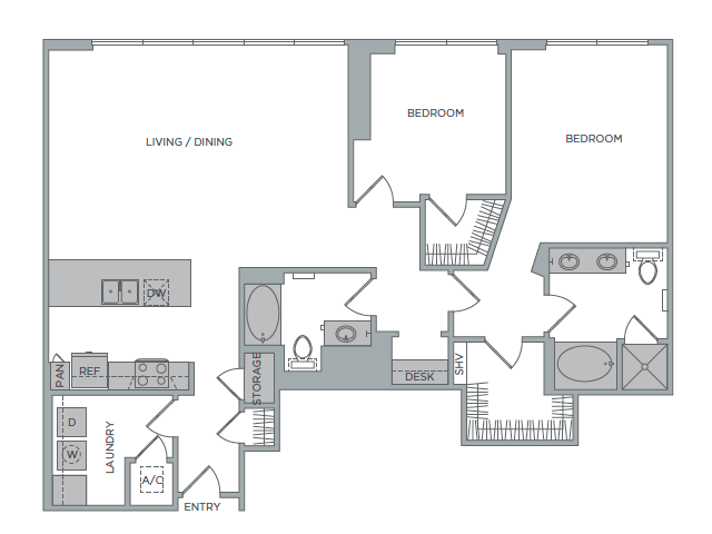 1,627 sq. ft. 2J floor plan