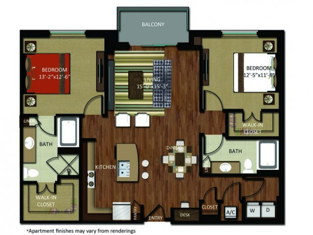 1,299 sq. ft. B5 floor plan