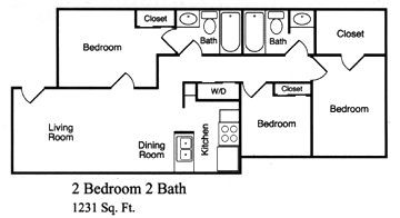 1,231 sq. ft. H floor plan
