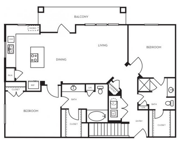 1,199 sq. ft. B2.6 floor plan