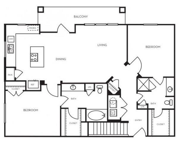1,199 sq. ft. B2.6 floor plan