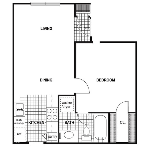 525 sq. ft. floor plan