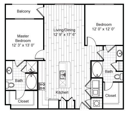 1,335 sq. ft. B4 floor plan