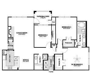 1,368 sq. ft. C1 floor plan