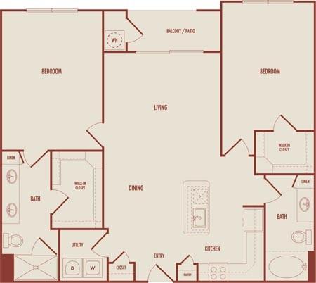 1,138 sq. ft. C1A floor plan