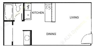 350 sq. ft. 60% floor plan