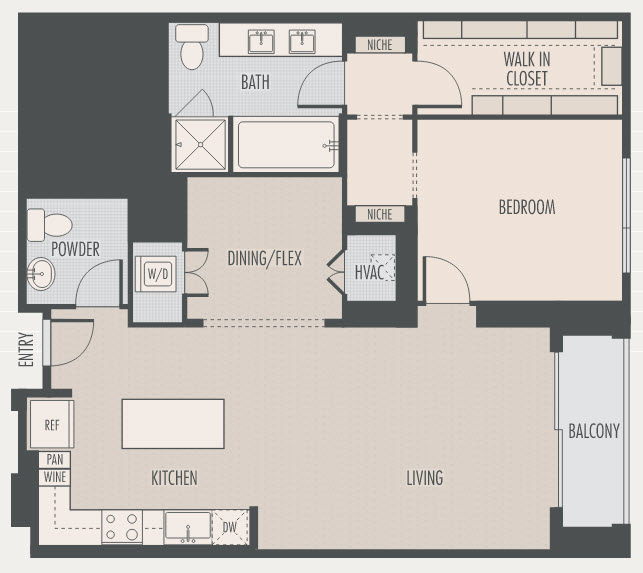 1,187 sq. ft. A5 floor plan