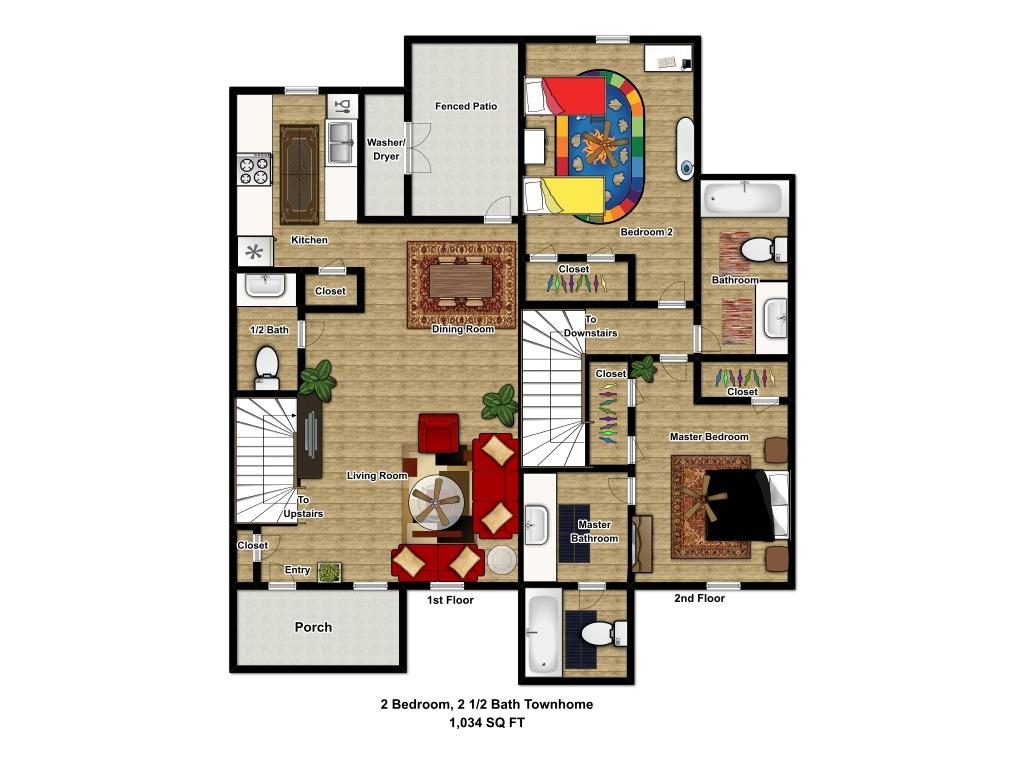 1,034 sq. ft. 60 floor plan
