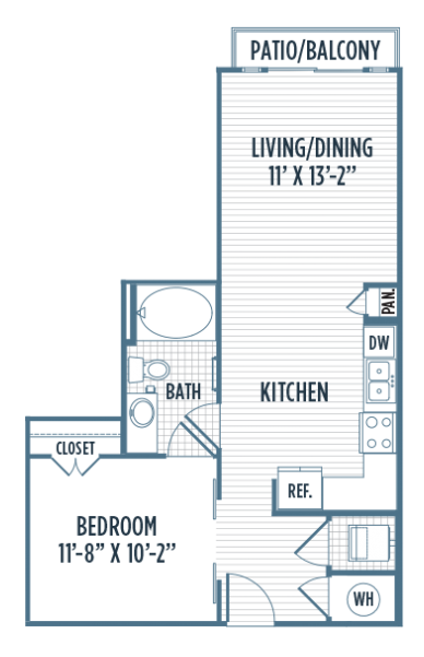 621 sq. ft. E5 floor plan
