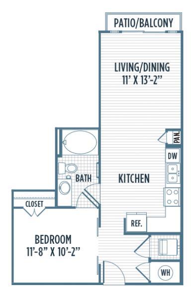 621 sq. ft. E5 floor plan