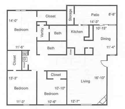 1,212 sq. ft. C1 floor plan