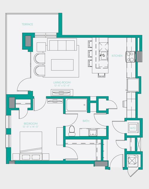 804 sq. ft. A5 floor plan