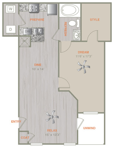 821 sq. ft. A3L floor plan