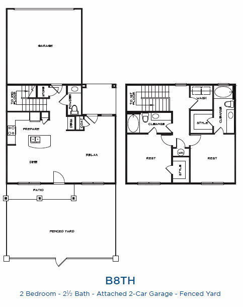 1,610 sq. ft. B8TH P floor plan
