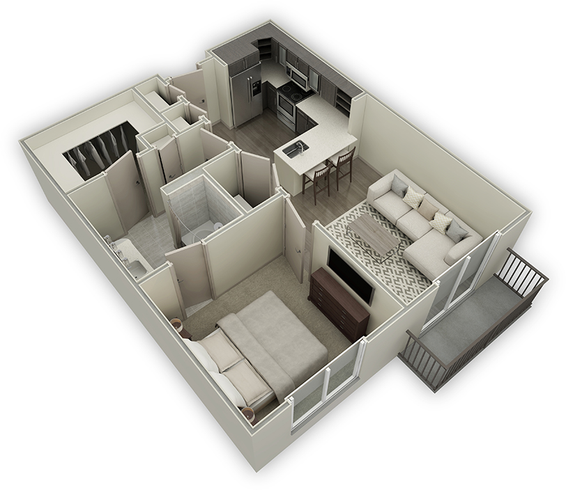 745 sq. ft. A2-HC floor plan