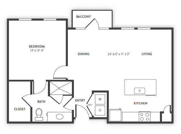 832 sq. ft. A1 floor plan
