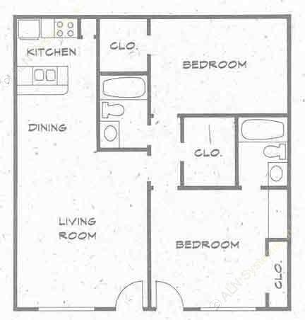 899 sq. ft. B3 PH I floor plan