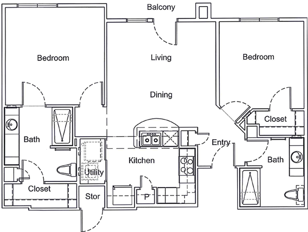 950 sq. ft. Mkt floor plan