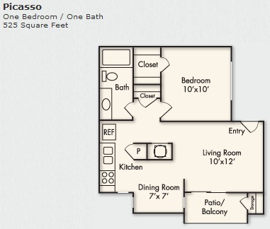 525 sq. ft. A-1 floor plan