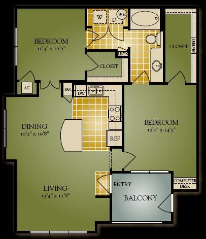 985 sq. ft. Rosenbaum floor plan