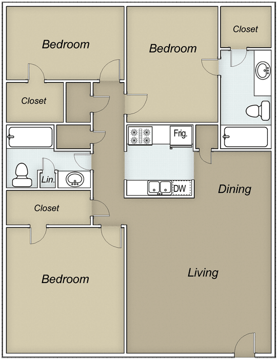1,375 sq. ft. Hawthorne floor plan