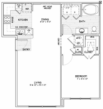 760 sq. ft. A1 SUN floor plan