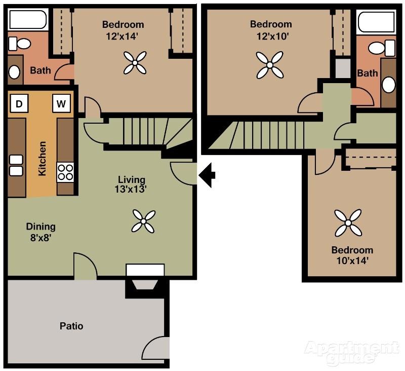 1,167 sq. ft. D floor plan